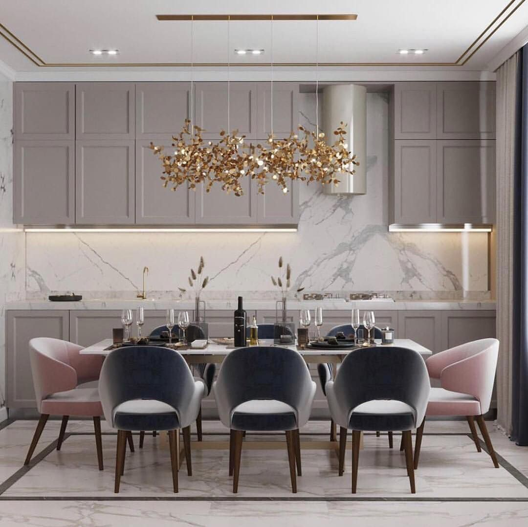 The Haute Interiors On Instagram Greys Greiges And Pops Of Blush Pink Via Contemp Cla Luxury Dining Room Minimalist Dining Room Luxury Dining