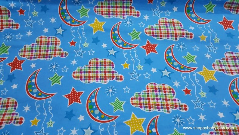 Flannel Fabric Dot Moon Blue By The Yard 100 Cotton Flannel Flannel Fabric Crafts Flannel Fabric Fabric Crafts