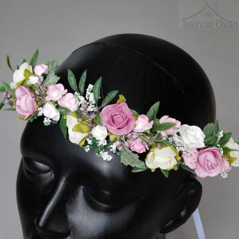 572d00908d Delikatny wianek kwiatowy na głowę