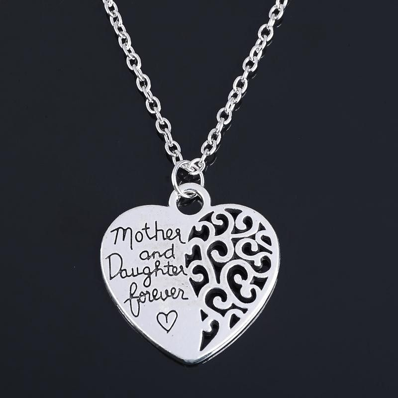 The Love between A Mother & Daughter Heart Shape Silver Chain Long Necklace