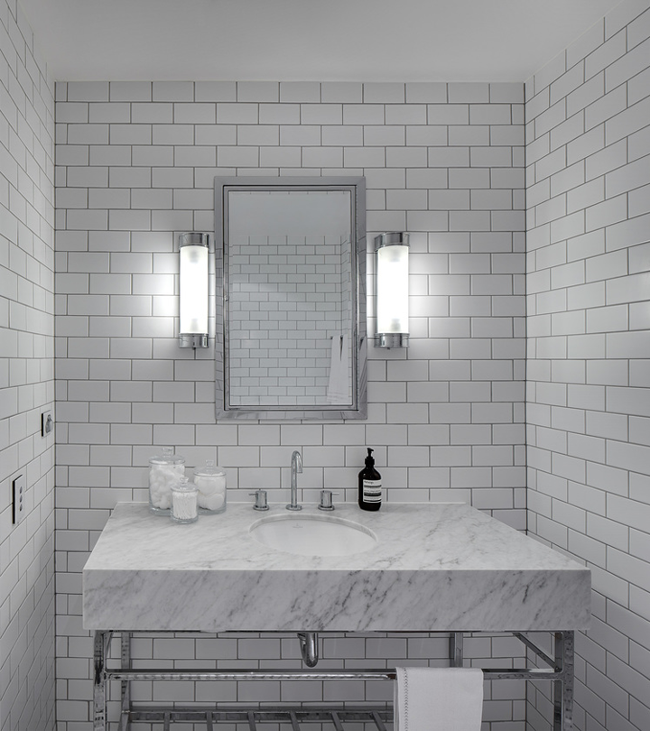 White Subway Tile With Light Grey Grout Grey Bathroom Floor
