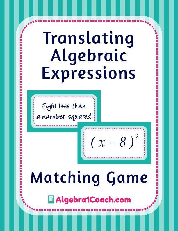 Translating Algebraic Expressions | Translating algebraic ...