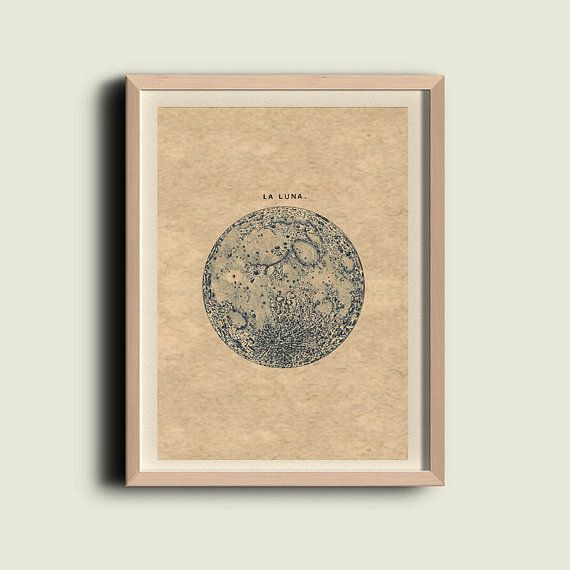 Full Moon La Luna Print Recovered Vintage Image to
