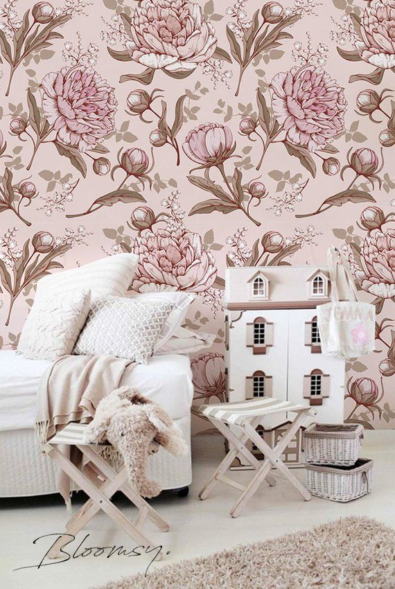 Removable Wallpaper Pink Peonies Fl Temporary Wall Coverin