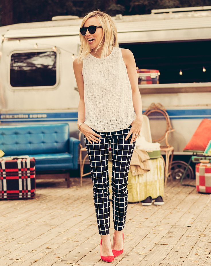 72ce4e019e30 summer outfit ideas for work  black and white plaid pants with white blouse  and red pumps