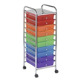Rolling Metal Framed Organizer With 10 Multicolor Drawers Product Organizer Construction Material Polypropylen Organization Cart Plastic Drawers Drawers