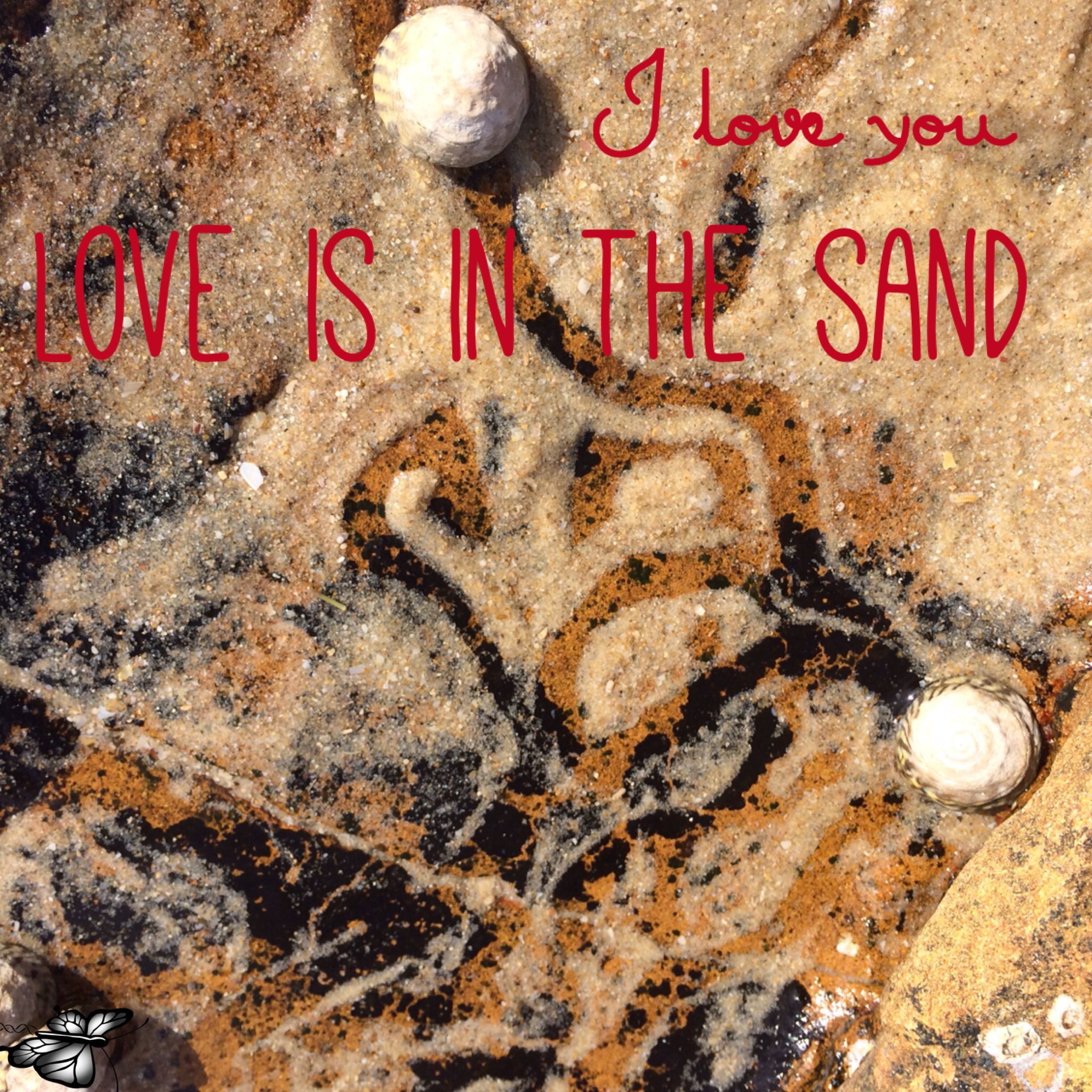 Love is in the sand.  Love is in the air  Love is everywhere if you feel it.   #getinsync #mikayla #butterfly  Follow me for #inspirationalquotes #motivate #affirmations #success #positive #takeaction #believe.  Intention is everything and there is some awesomeness in all of us. Be awesome.