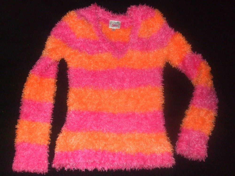 Justice Pink & Orange Fuzzy Sweater Girls Size 8 Justice Fuzzy ...