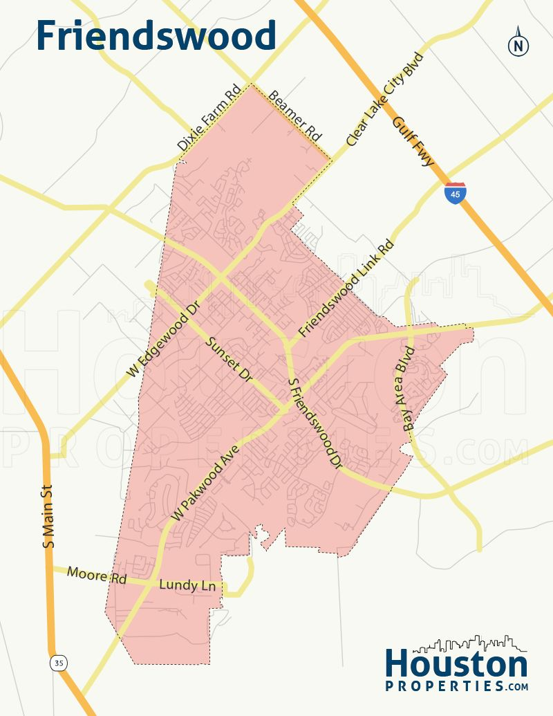 Friendswood TX Neighborhood Map | Map, Houston neighborhoods ...