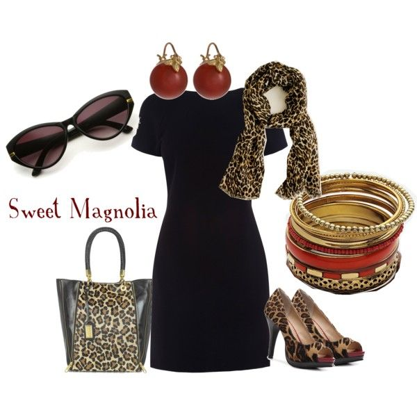 This is nice but I would trade out either the scarf, bag or shoes; I would not wear all three at the same time.