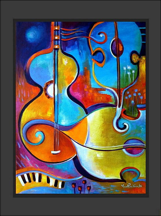 Abstract Modern Original Acrylic Painting On Canvas Music And Pion Marlina Vera Fine Art Gallery Expressionist Fauve