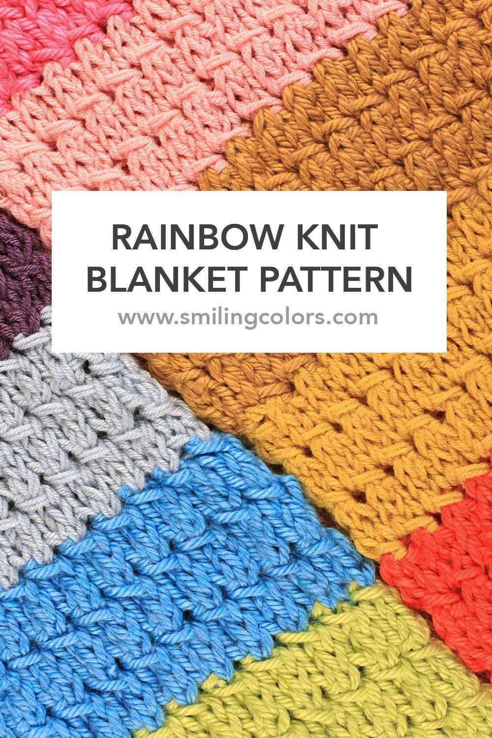 Rainbow Knit Blanket pattern with an YouTube video too! | Manta y Color
