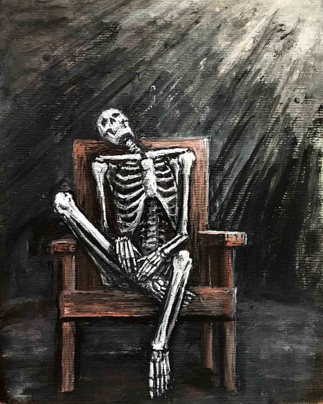 Saturdays are weird  (painting for sale @tinypieceofmercury ) #art #artwork #illustration #darkillustration #dark #darkart #darkarts #darkartists #darksurrealism #gouache #gouachepainting #painting #lowbrow #lowbrowart #skeleton #macabre #macabreart #calaveras #outsiderart #artbrut