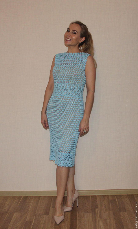купить платье лагуна голубой абстрактный ажурное платье