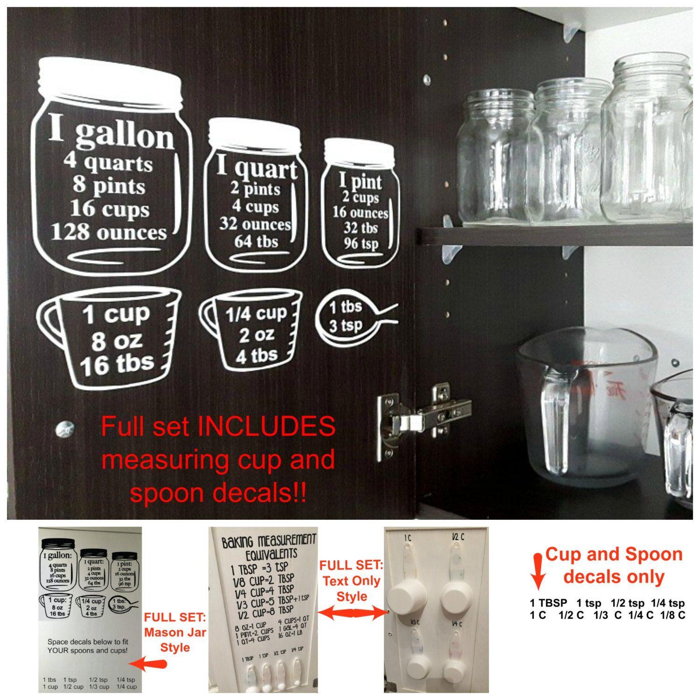 Baking Measurement Equivalents Vinyl Wall Decal Sticker Etsy Baking Measuring Cups Baking Measurements Kitchen Cabinets Measurements