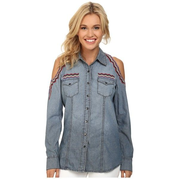 Cruel Denim Shirt Cold Shoulder Women's Long Sleeve Button Up ($60) ❤ liked on Polyvore featuring tops, cold shoulder tops, long sleeve button down shirts, embroidered shirts, blue shirt and button up shirts