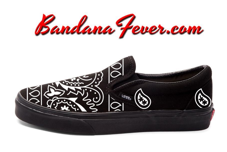 Custom White Bandana Vans Slip On, #vansskate, #vans #skate
