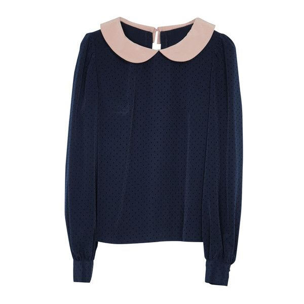 丸襟ブラウスプルオーバー |miraville ミラヴィール found on Polyvore featuring tops, sweaters, shirts and blouses