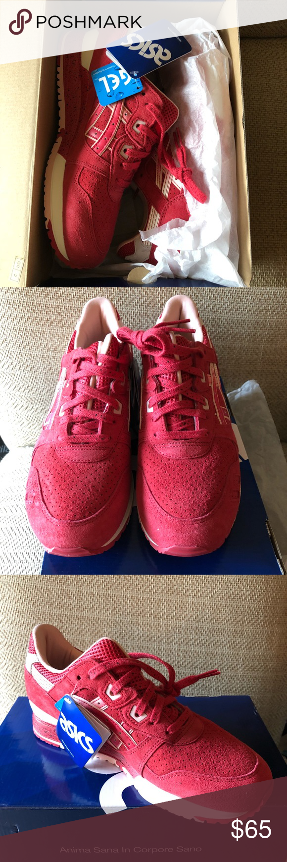 ASICS Gel Lyte 3 NWT women 8.5 men 7 NIB ASICS Gel-lyte 3 red and cream  suede running shoe- easily unisex with a woman s 8.5 and a man s 7! 3309944a36