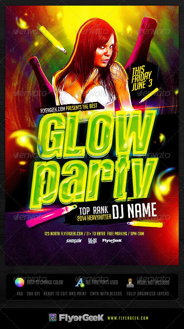 Glow Party Flyer Template Psd  Party Flyer Flyer Template And Template