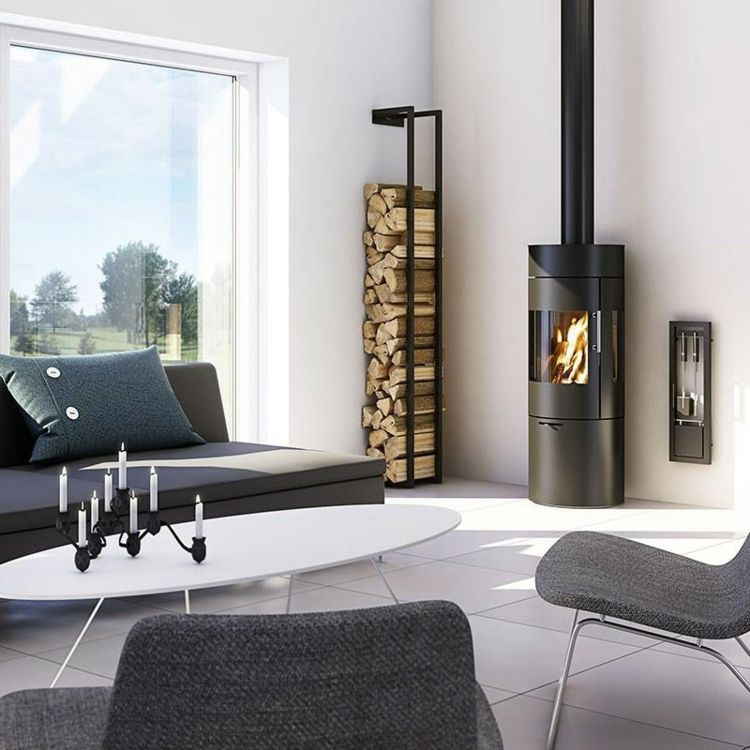 wandregal modernes design kamin holz lagern wohnraum einrichten wohnen. Black Bedroom Furniture Sets. Home Design Ideas
