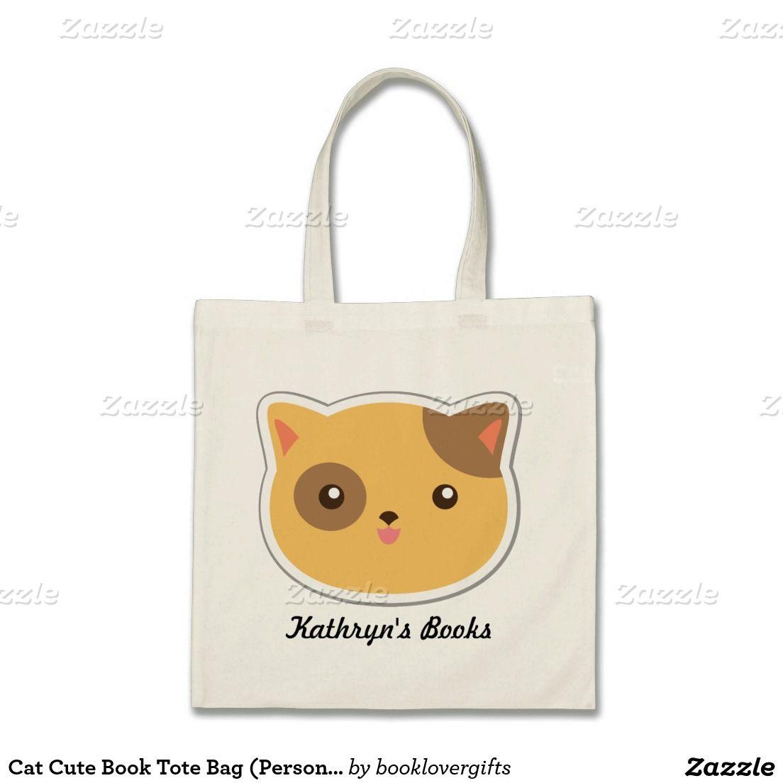 Cat Cute Book Tote Bag (Personalized)