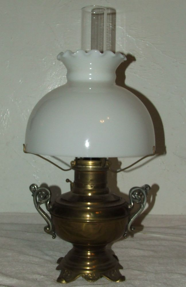 Antique 1800 S The Rochester Brass Gwtw Ornate Victorian Oil Lamp Banquet Lamp Lamp Oil Lamps Banquet Lamp