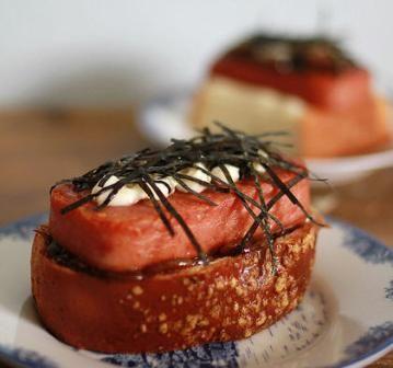 Spam Sandwich w/Teriyaki Carmelized Onions