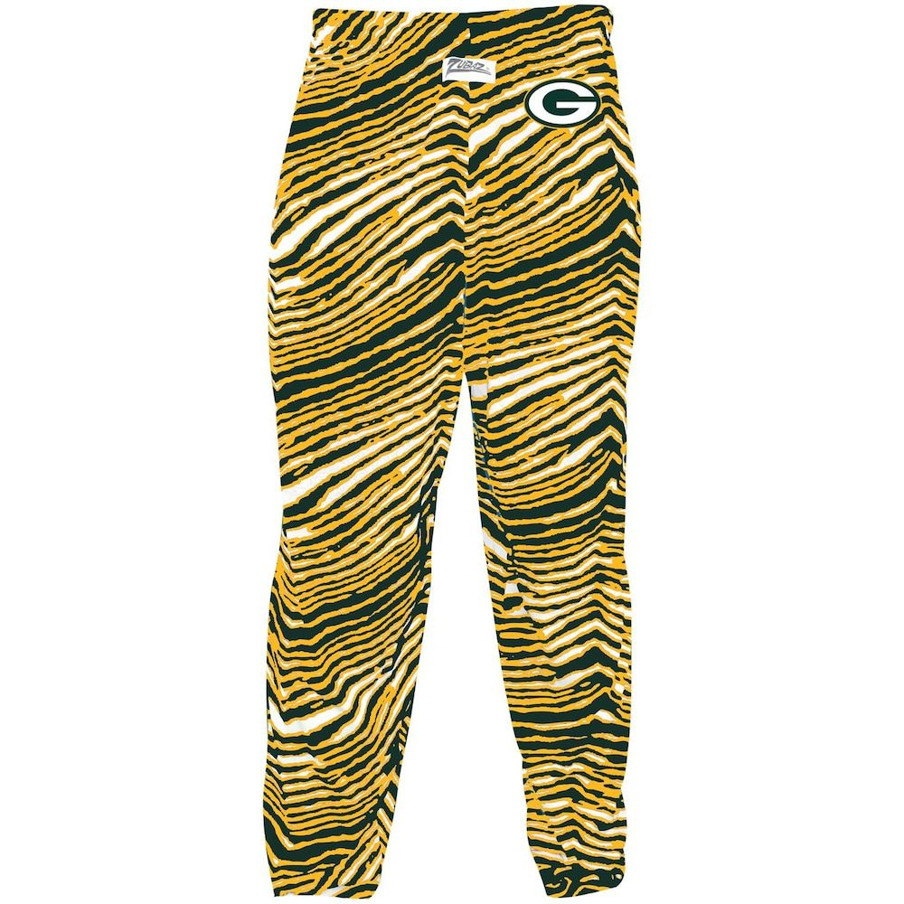 Men S Zubaz Green Gold Green Bay Packers Zebra Pants Pants Green Bay Packers Green Gold