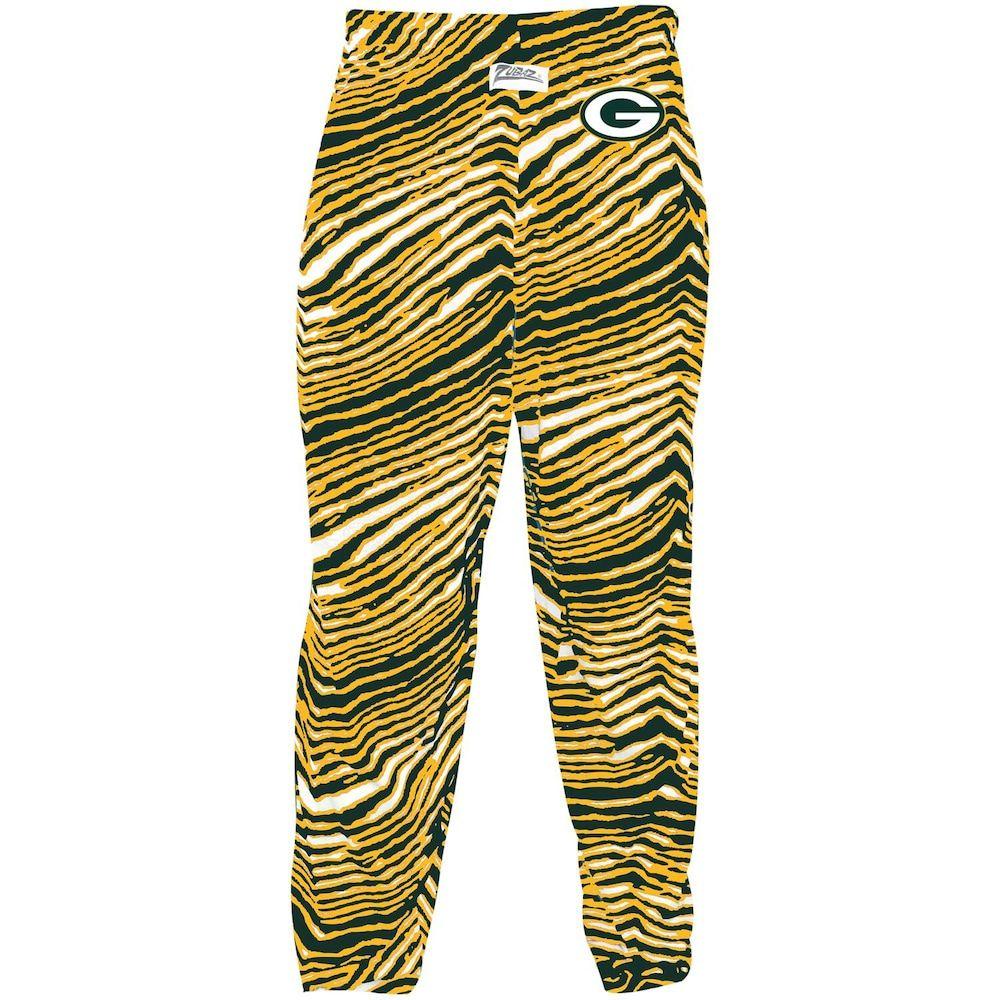 Men S Zubaz Green Gold Green Bay Packers Zebra Pants Pants Green Bay Packers Green Gold
