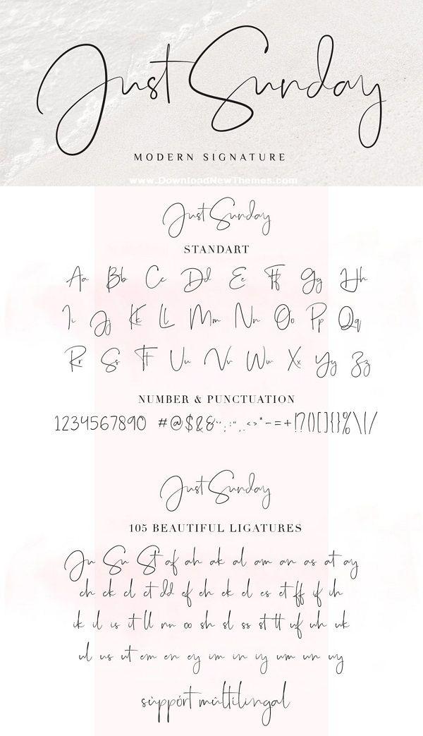 Just Sunday Modern Feminine Font Feminine Fonts Hand Lettering Fonts Lettering Fonts