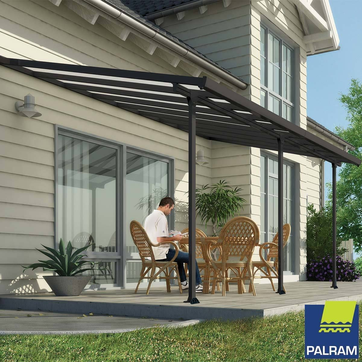 Palram Feria 3 Veranda Patio Cover In Grey 3 X 5 46m In 2018