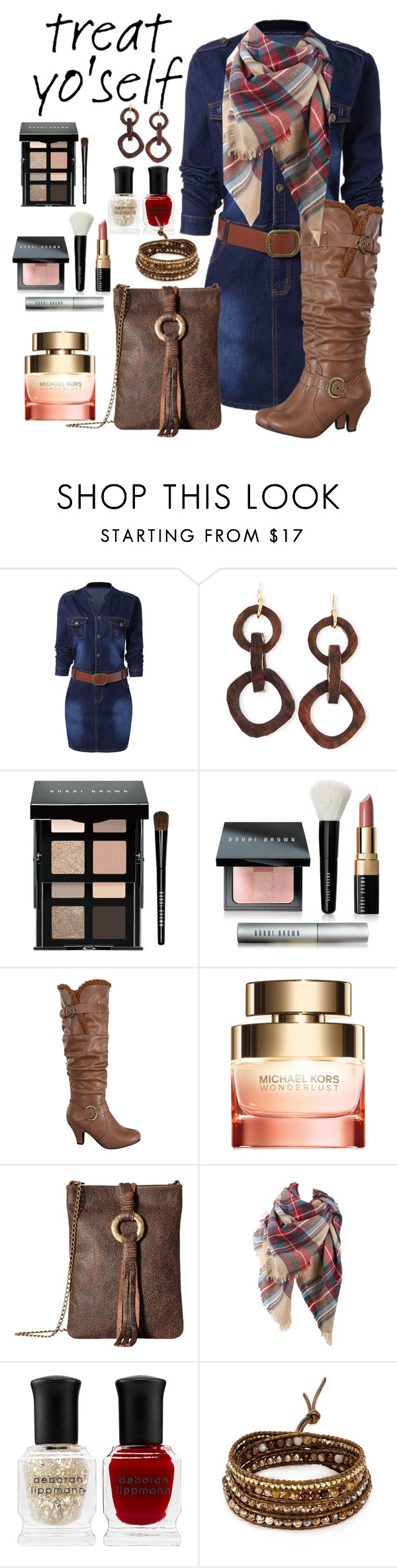 """A little treat for me"" by hubunch ❤ liked on Polyvore featuring NEST Jewelry, Bobbi Brown Cosmetics, Michael Kors, Leatherock, Deborah Lippmann, Chan Luu and treatyoself"