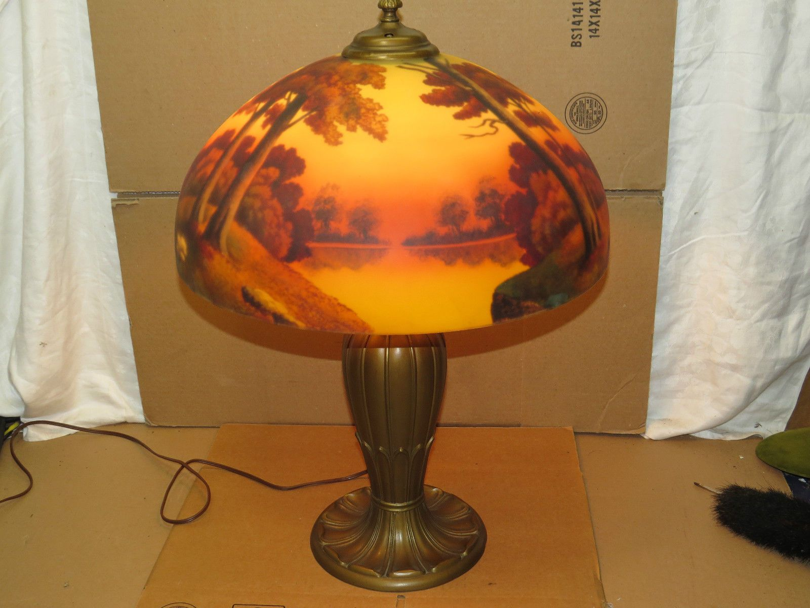 Vintage phoenix pittsburgh reverse painted table lamp 18scenic light fixture ebay
