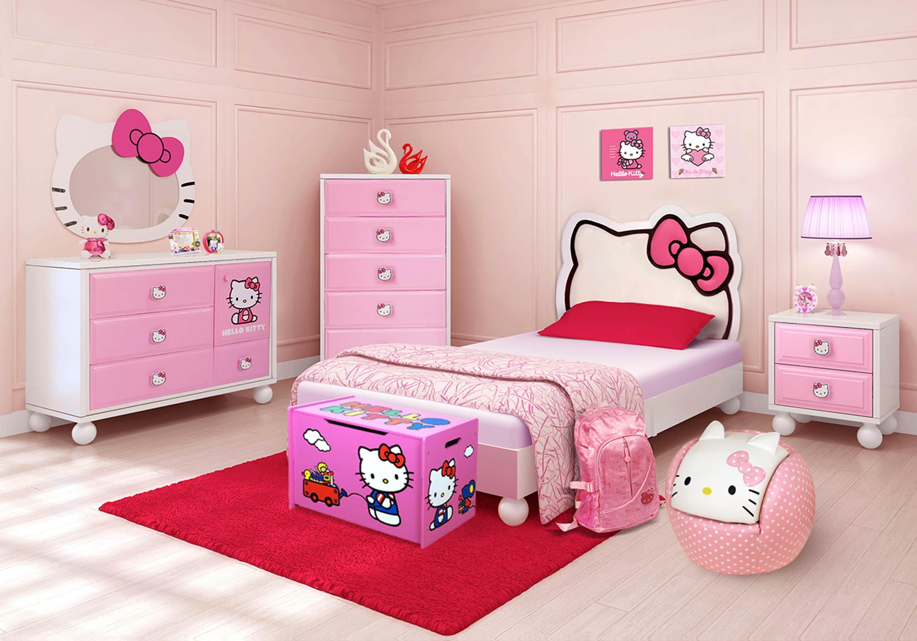 Hello Kitty Twin Bedroom Girls Bedroom Sets Colors Modern Bedroom Furniture Pink Bedroom Design Bedroom Furniture Stores