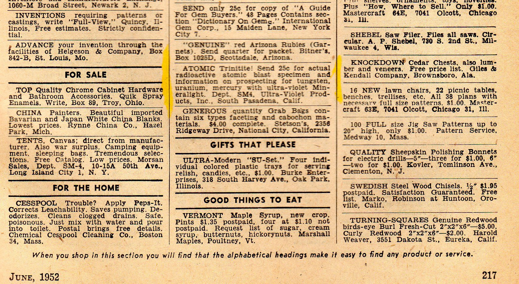 Check The Highlighted 1952 Ad For 25 Cents You Can Get A Piece Of Radioactive Rock From The A Bomb Blast Site O Where To Sell Things To Sell Glow In The Dark