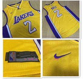 Men\'s Los Angeles Lakers #2 Lonzo Ball Yellow 2017-2018 Nike