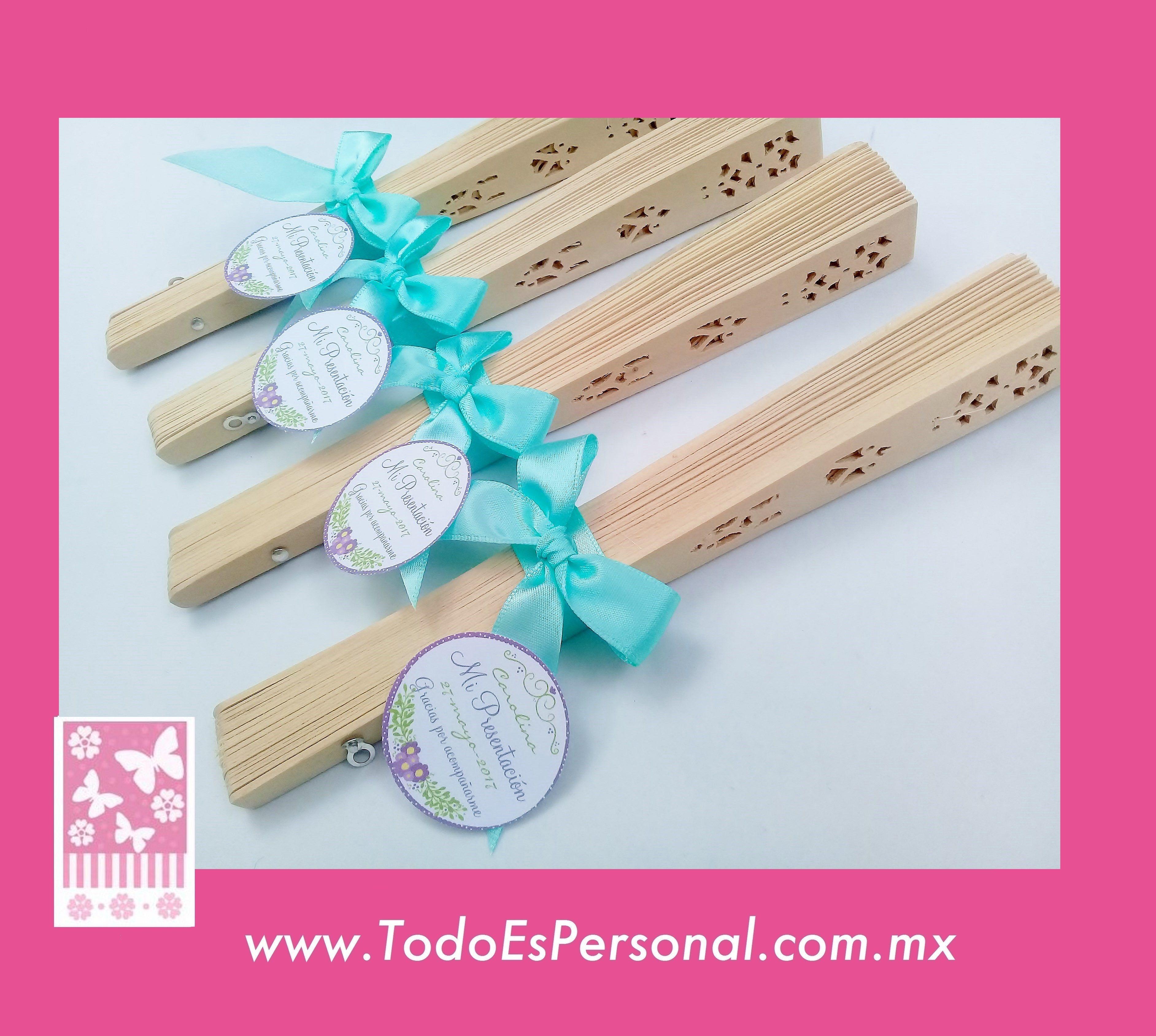 abanicos de madera para presentacion 3 a±os detalles evento calor