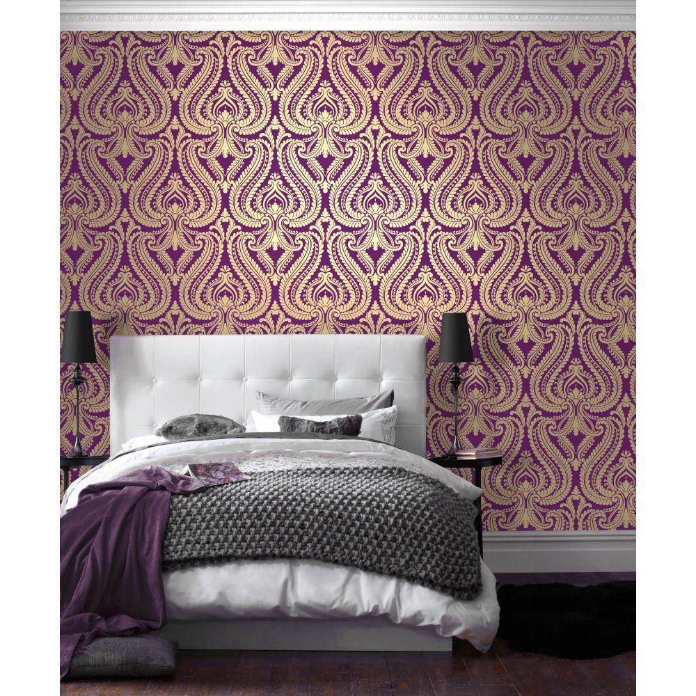 Shimmer Damask Metallic Wallpaper Purple / Gold (ILW980013