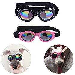 bf039c52bab22 Sparklelife 2 Pairs Dog Goggles UV Protective Foldable Lenses Adjustable  Strap Eye Wear Protection Waterproof Pet Sunglasses for Dogs