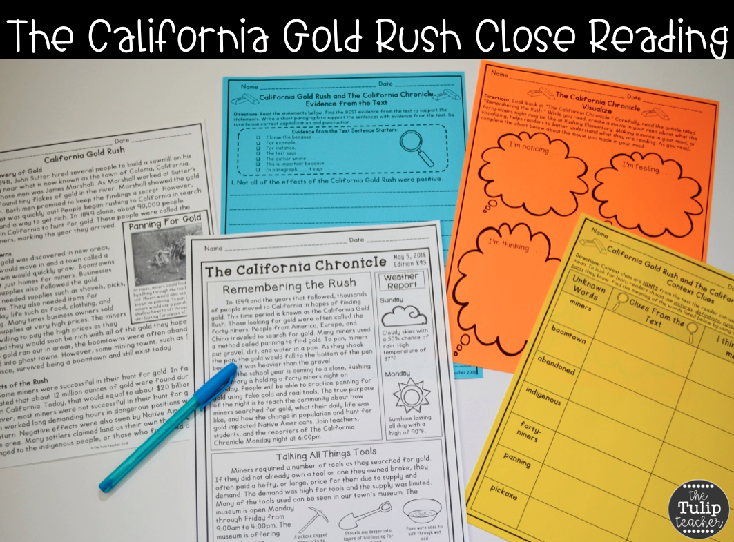 Worksheet California Gold Rush