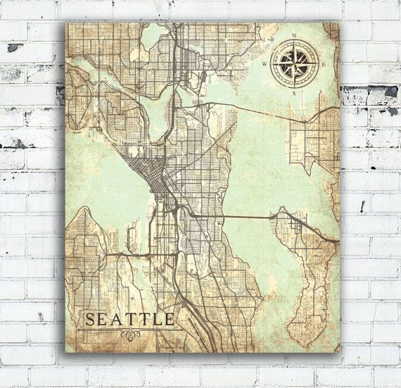 Seattle Wa Canvas Print Washington Vintage Map Seattle City Map