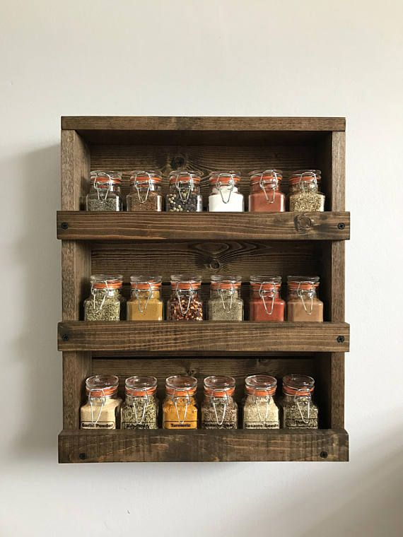 Wooden Spice Rack Wall Mount Mesmerizing Rustic Wood Spice Rack Wood Wall Mounted Spice Organizer Inspiration