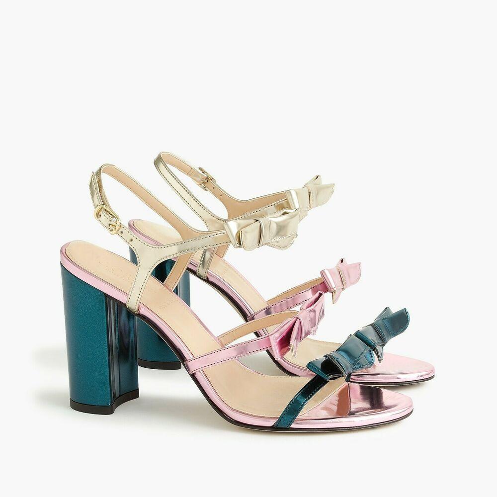 Nib J Crew Stella Bow Wedding Block Heels In Metallic Emerald Size 11m Bow Heels Casual Shoes Women Womens Heels
