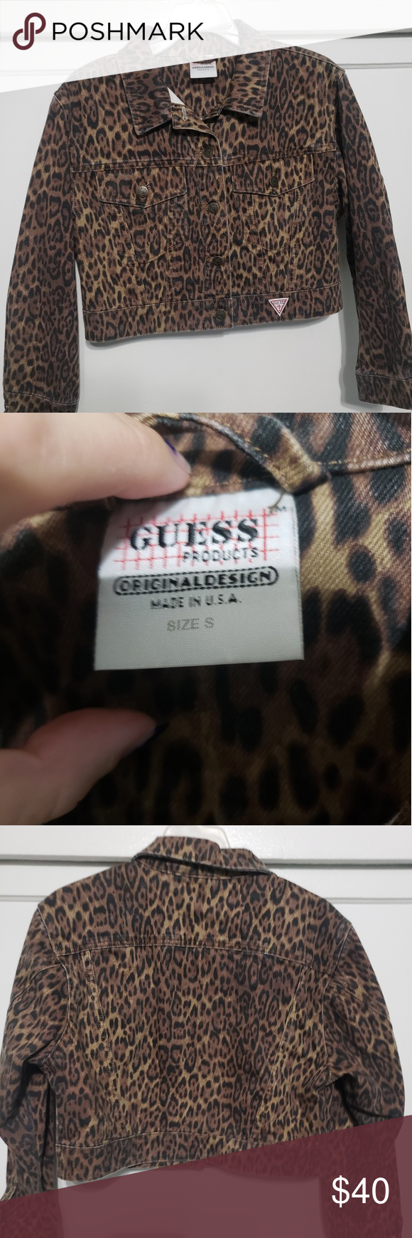 Photo of Guess Leapord denim jacket Size small Guess denim jacket in leapord print. Super…