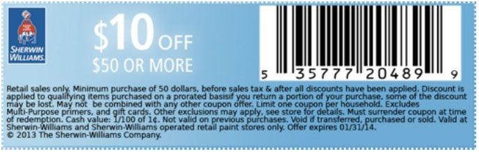 photograph regarding Sherwin Williams Printable Coupon titled Sherwin Williams: $10 off $50 Printable Coupon Coupon codes