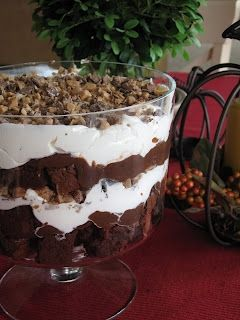 """Brownie Triffle  1 pan of brownies cut into 1"""" cubes (box mix or scratch, whichever you prefer)  1 box instant chocolate pudding (use pie filling directions)  1 large container of Cool Whip OR 1 pint of whipping cream (whipped)  6-8 Skor or Heath Candy Bars (crushed)"""
