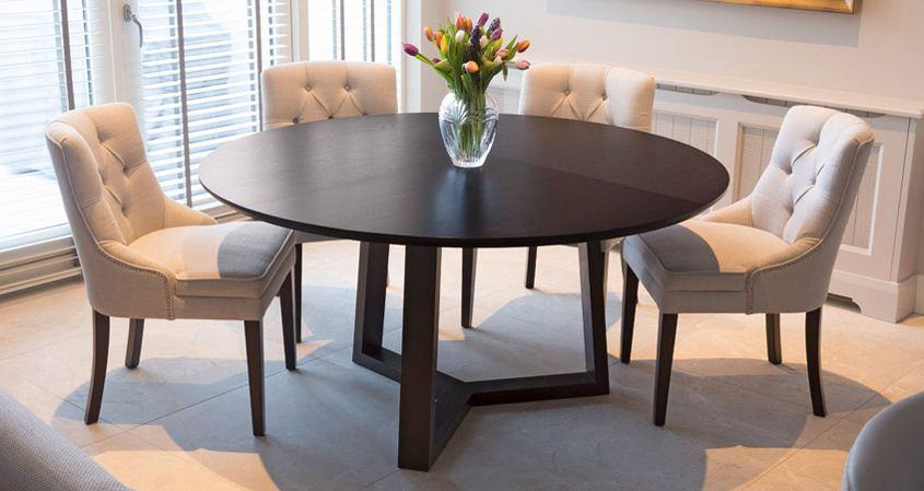 Kearney Dining Table 6 8 Seater Circular Dining Table In Solid Oak Finished With Black Stain And Matt Lac Circular Dining Table Dining Table Circular Table