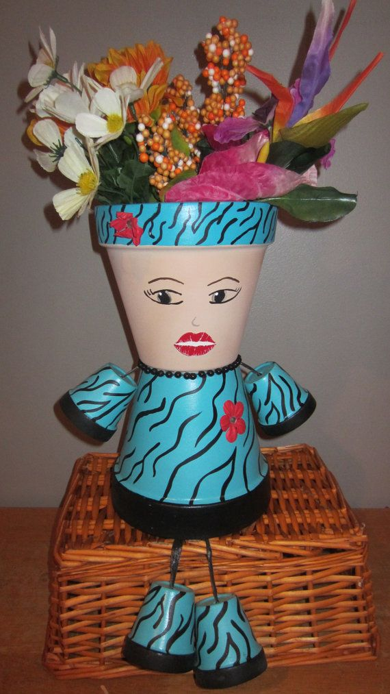 small flower pot people planter pot person people garden friend diva by gardenfriendsnj