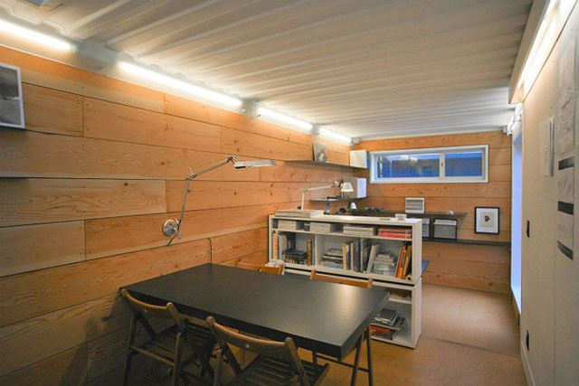 Great interior shot of a shipping container office Cargotecture